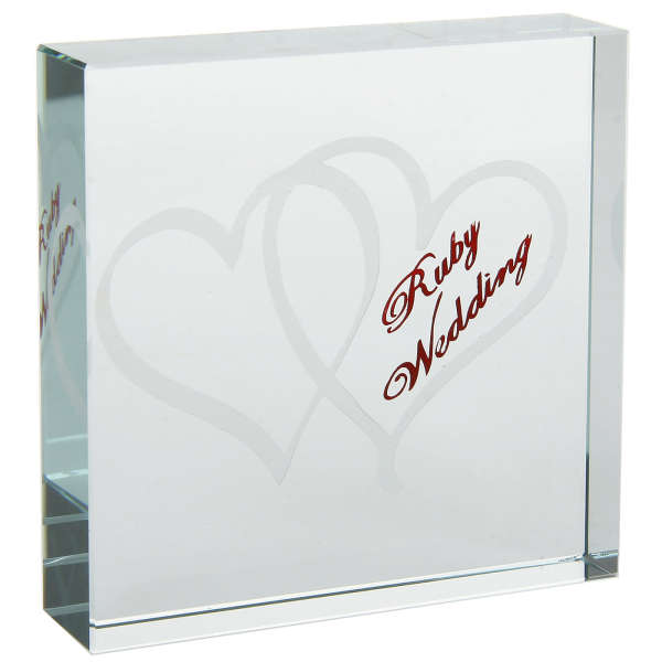 Th Wedding Anniversary Glass Paper Weight