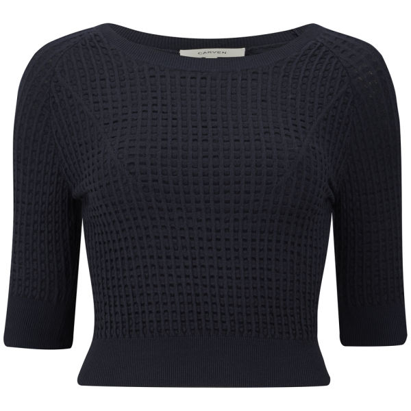 Carven Women's Technical Knit Jumper - Navy