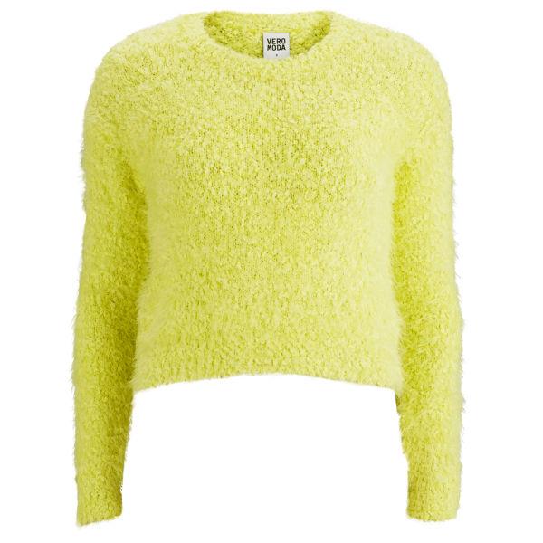 Vero Moda Women's Fluffy Jumper - Sunny Lime