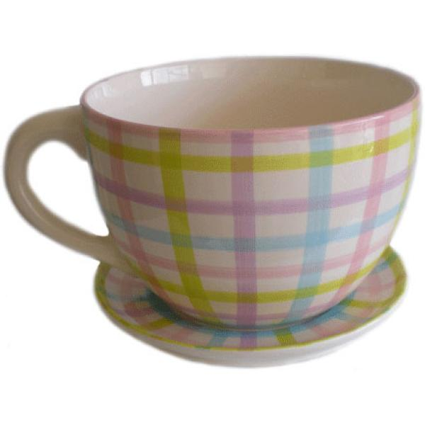 Giant Gingham Tea Cup And Saucer Planter Unique Gifts Zavvi Australia