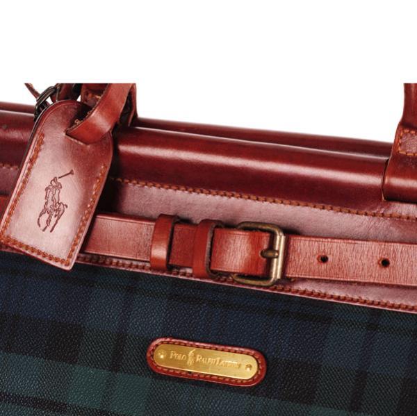 Polo Ralph Lauren Vintage Men\u0027s Check Leather Trim Holdall - Blue/Green  Check: Image