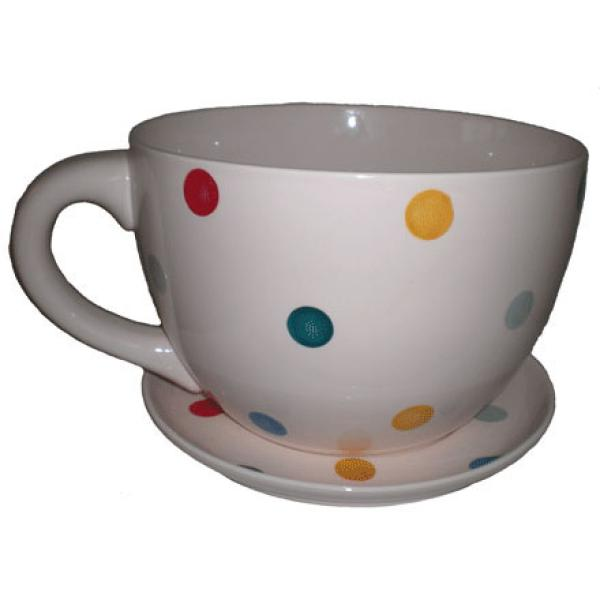Giant Cream With Multi Coloured Spots Tea Cup And Saucer Planter