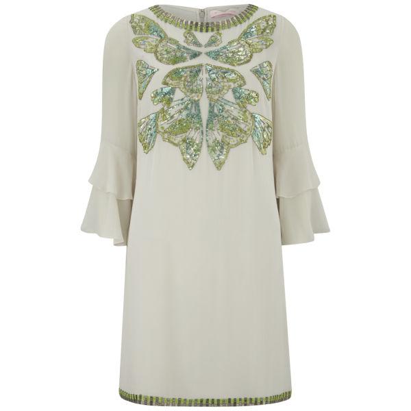 Matthew Williamson Women's Embroidered Ruffle Sleeve Dress - Moonshine