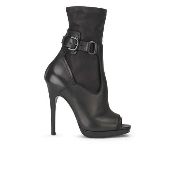 McQ Alexander McQueen Women's Lara Sock Open Toe Leather Boots - Black