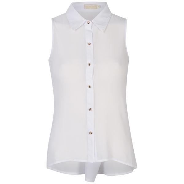 Nova Women's Sleeveless Chiffon Blouse With Button Back Detail - Optic White