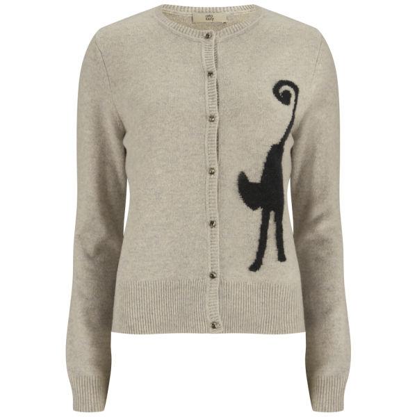 Orla Kiely Women's Cat Intarsia Wool Cardigan - Oatmeal