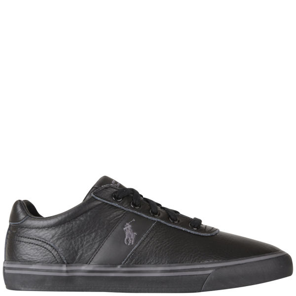 6a6df3b41729 Polo Ralph Lauren Men s Hanford Leather Trainers - Black Grey  Image 1