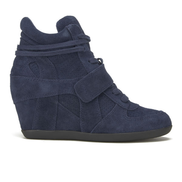 Ash Women's Bowie Suede Hi-Top Wedged Trainers - Midnight