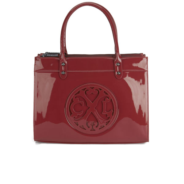Christian Lacroix Patent Logo Tote Bag - Oxblood