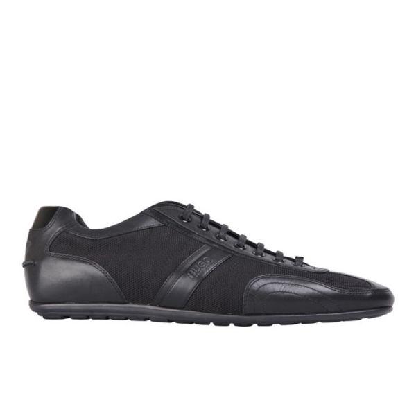 HUGO Men's Thatoz Textile/Leather Trainers - Black