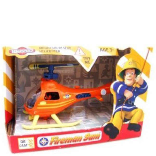Toy Fireman Sam Helicopter Mountian Rescue Vehicle With Figure New Boxed