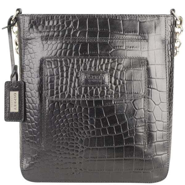 Osprey London Women S Carapace Croc Leather Cross Body Bag Black Image 1