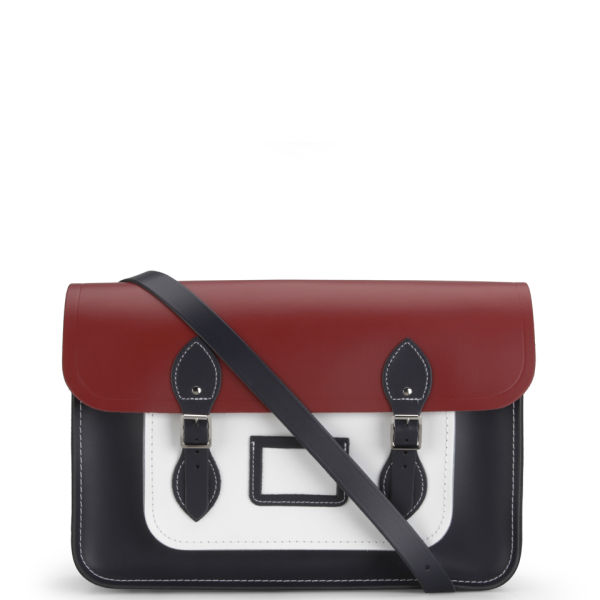 The Cambridge Satchel Company 15 Inch Colourblock Leather Satchel - Red/White/Navy