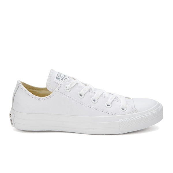 Converse Unisex Chuck Taylor All Star OX Leather Trainers - White Monochrome