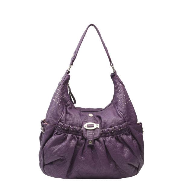 Nica Rowan Large Scoop Stud Detail Shoulder Bag Purple Image 1
