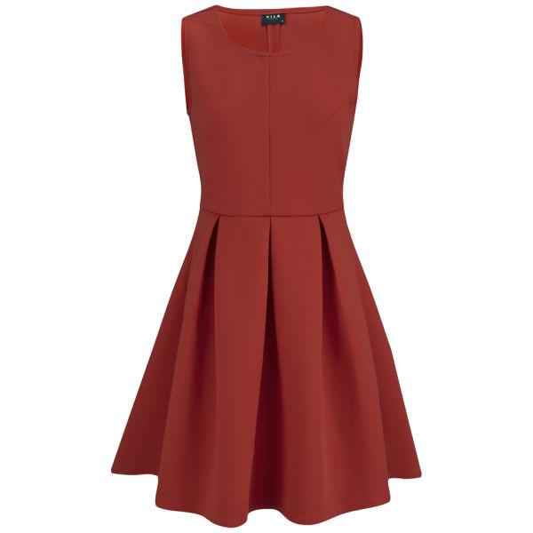 VILA Women's Fact Skater Dress - Red