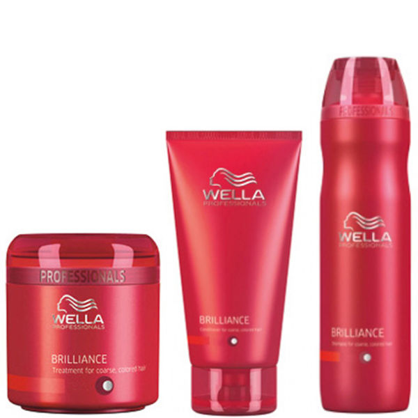 Wella Professionals Brilliance Trio for Fine to Normal Coloured Hair- Shampoo, Conditioner & Treatment