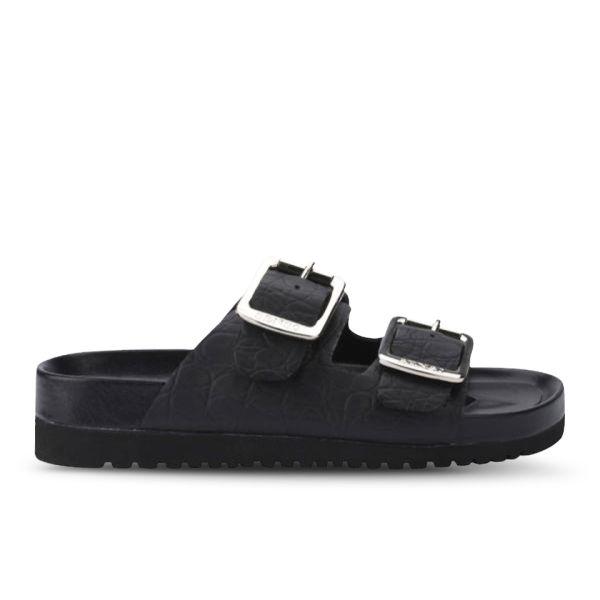 Senso Women's Ida I Croc Leather Slide Sandals - Black