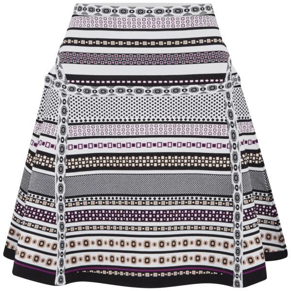Diane von Furstenberg Women's Flote Banded Dot Skater Skirt - Banded Dot