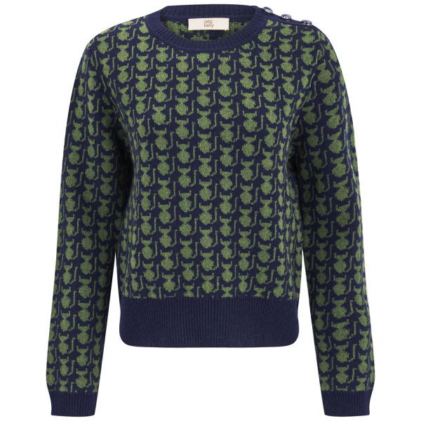 Orla Kiely Women's Kitten Fairisle Sweater - Green/Navy