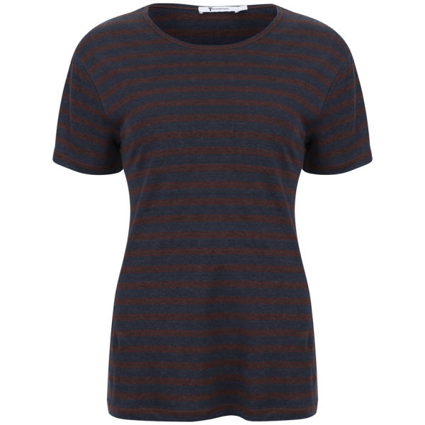T by Alexander Wang Women's Linen Stripe Tee - Ink and Iodine