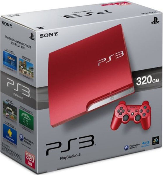 playstation 3 slim 320 gb console limited edition scarlet red