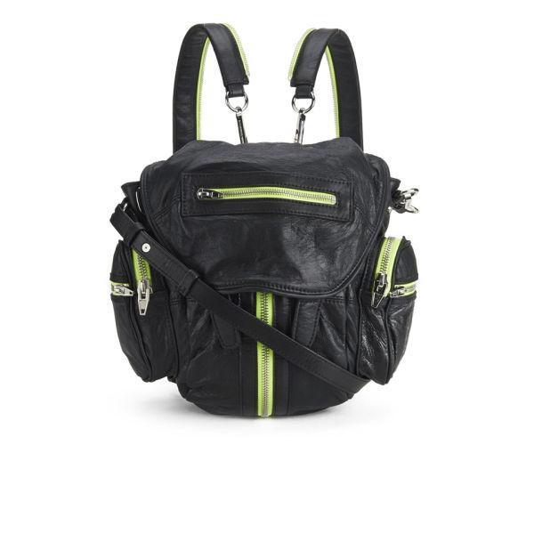 Alexander Wang Mini Marti Backpack -  Black Waxy Paper Lamb Citrine