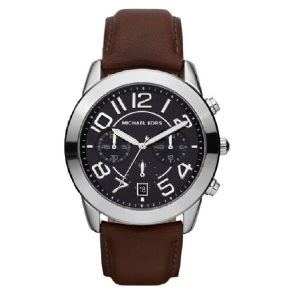 MICHAEL MICHAEL KORS Women's Brown Leather Strap Watch