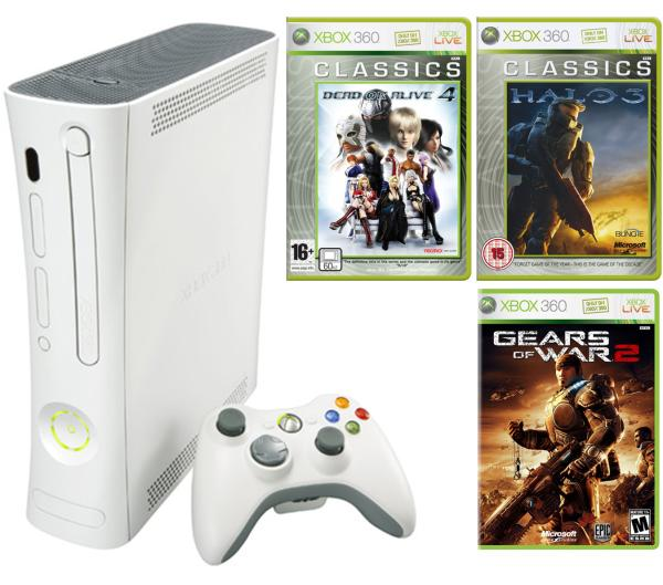 xbox 360 arcade console  bundle  including dead or alive 4