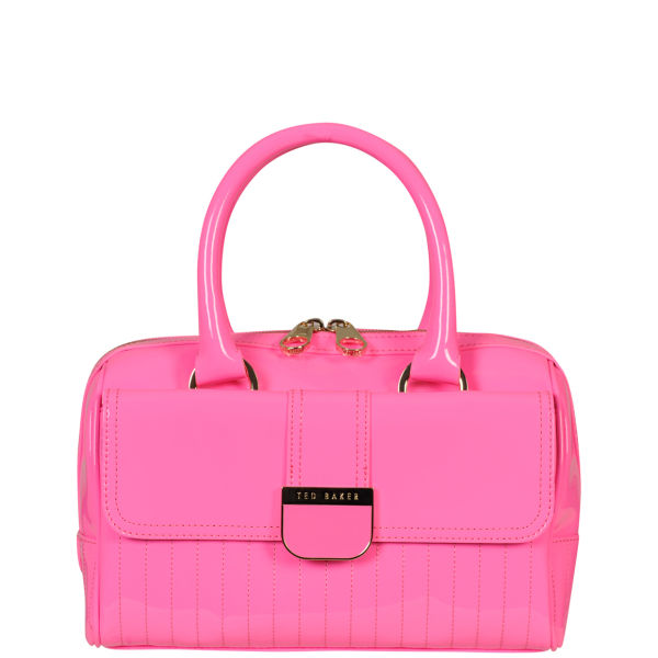 Ted Baker Marquez Quilted Enamel Mini Bowler Bright Pink
