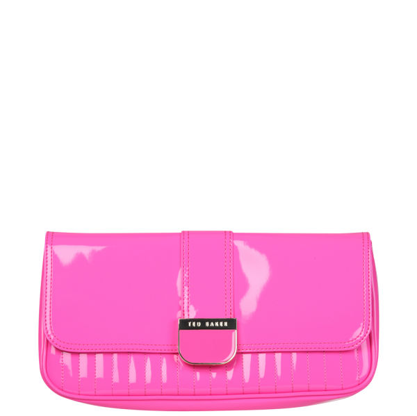 meticulous dyeing processes outlet online the latest Ted Baker Benet Quilted Enamel Clutch Bag - Bright Pink