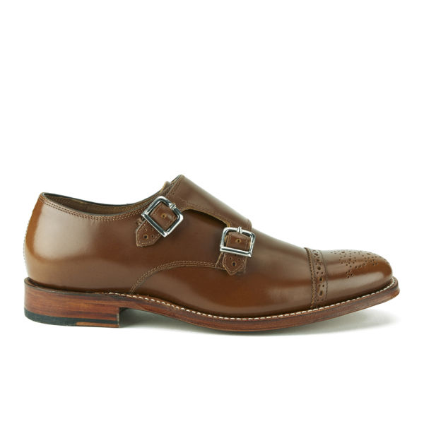 Grenson Women's Mabel Leather Brogue Monk Shoes - Tan Rub Off