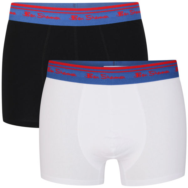 Ben Sherman Men's 2-Pack Boxer - Black-White-Blue/Red Trims