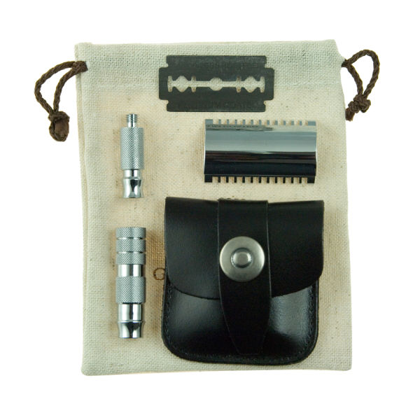 Geo. F. Trumper Double Sided Travel Razor i Leather Case