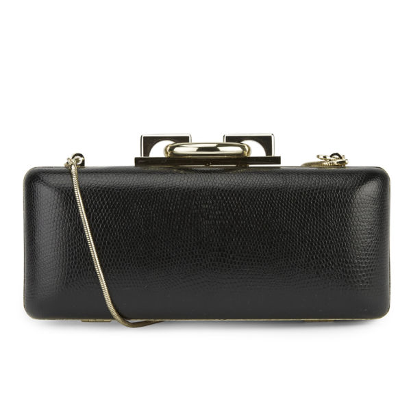 Diane von Furstenberg Women's Sutra Embossed Lizard Leather Clutch Bag - Black