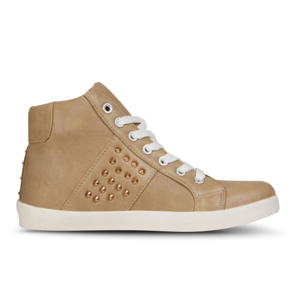 Love Sole Women's Studded High Top Trainers - Beige