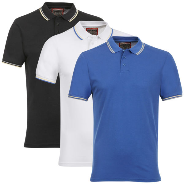 Brave Soul Men 39 S 3 Pack Polo Shirt Royal Blue White