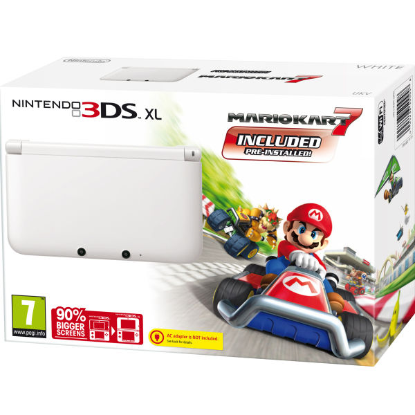 nintendo 3ds xl console limited edition ice white includes mario kart 7 pre installed games. Black Bedroom Furniture Sets. Home Design Ideas