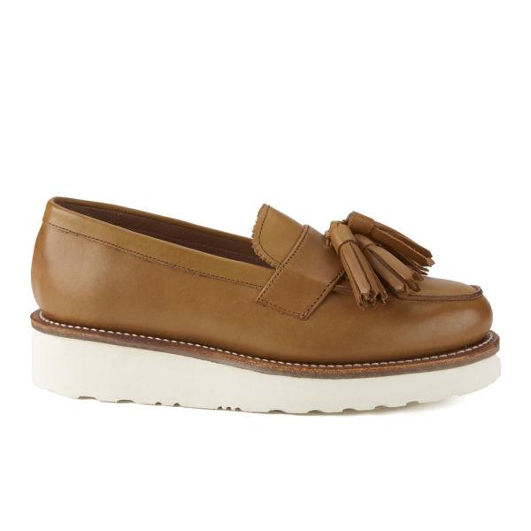 0ad3540f464 Grenson Women s Clara V Leather Platform Tassel Loafers - Tan  Image 1