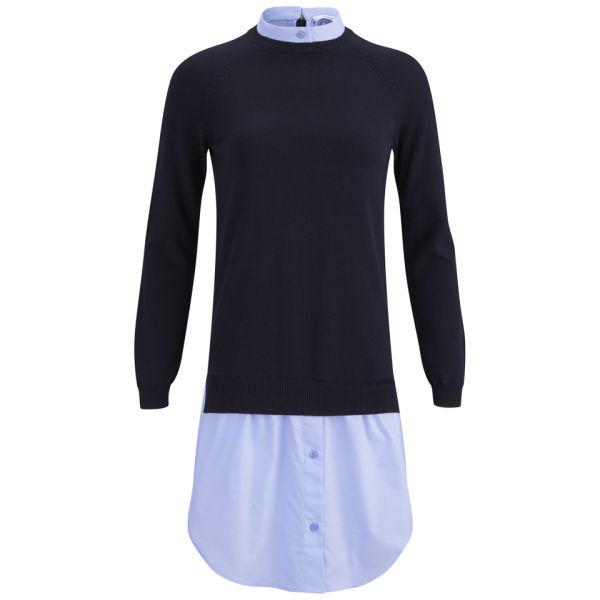 Carven Women's Knitted Oxford Dress - Dark Navy