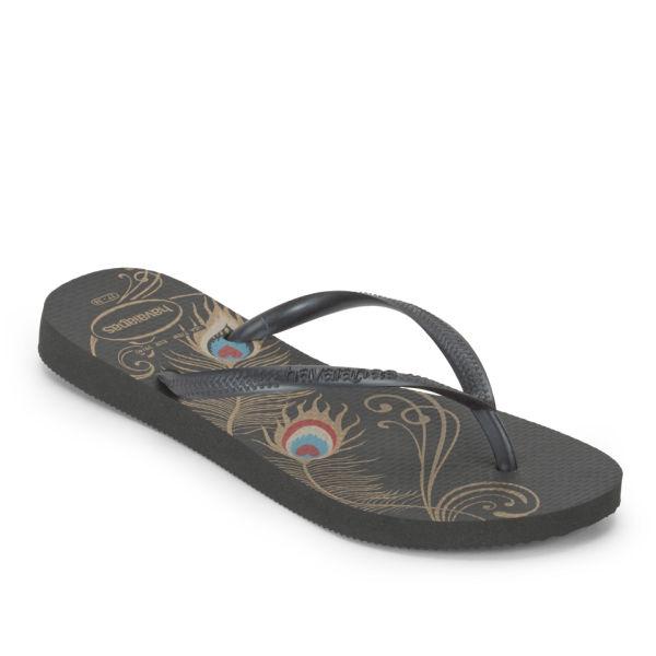 d67ecf1f0 Havaianas Women s Slim Peacock Flip Flops - Black  Image 3