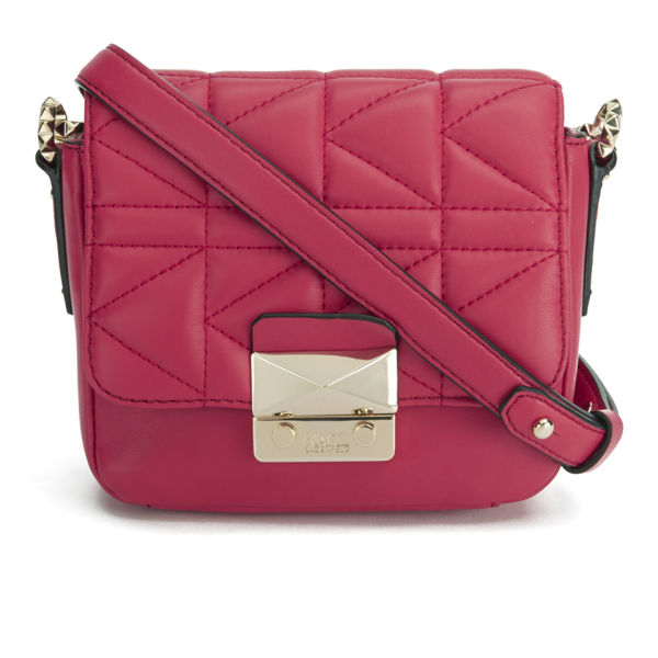 Karl Lagerfeld K/Kuilted Leather Cross Body Bag - Raspberry