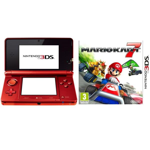 Nintendo 3ds console metallic red bundle includes mario kart 7 games consoles - Console 3ds xl blanche avec mario kart 7 ...