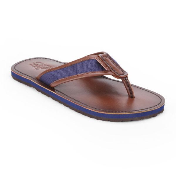 bc840eaa239 Polo Ralph Lauren Men s Sullivan Leather Webbing Flip Flops - Navy Brown   Image