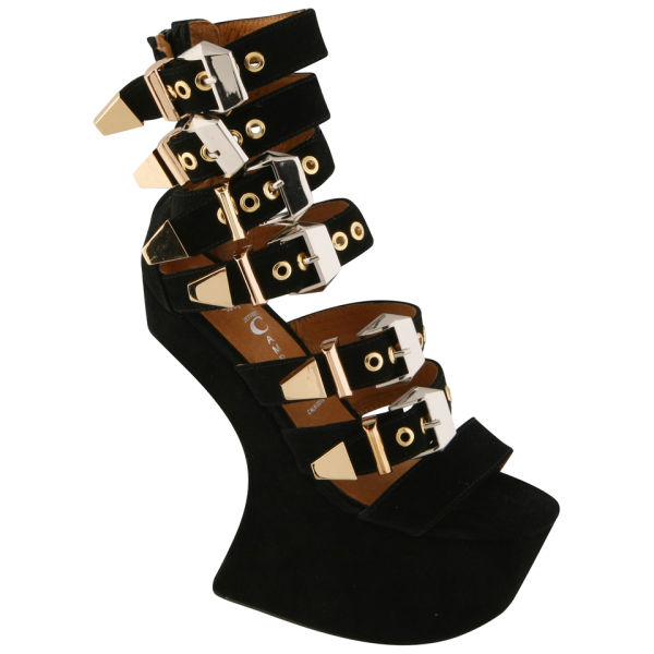 Jeffrey Campbell Women's Nightrain Gold Buckle Heels - Black