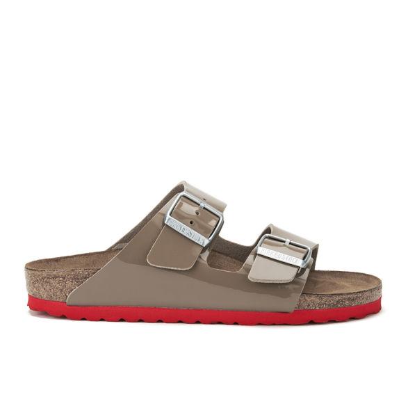 Birkenstock Women's Arizona Slim Fit Double Strap Patent Contrast Sole Sandals - Fossil