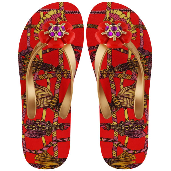 Miss Trish Women's Rose Flip Flops - Red