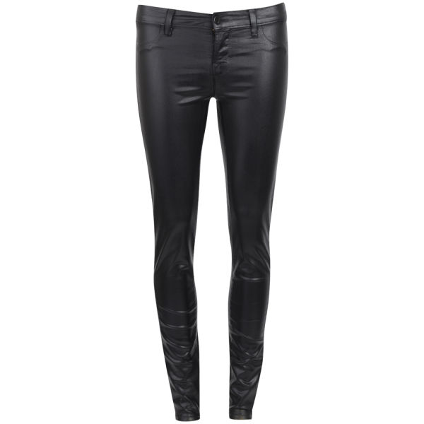 J Brand Women's Coated Mid Rise Super Skinny Jeans - Black Tar