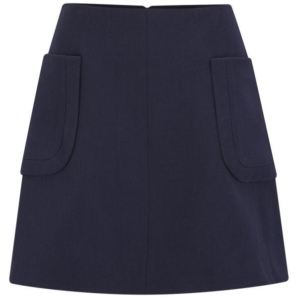 Carven Women's Wool Crepe Pocket Flare Skirt -  Navy