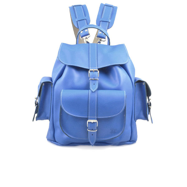 Grafea Hari Medium Leather Rucksack - Smurf Blue